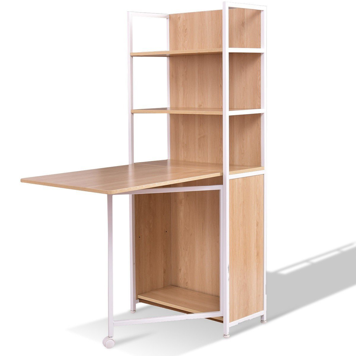 2-in-1 Folding Fold Out Convertible Desk with Cabinet & Bookshelf