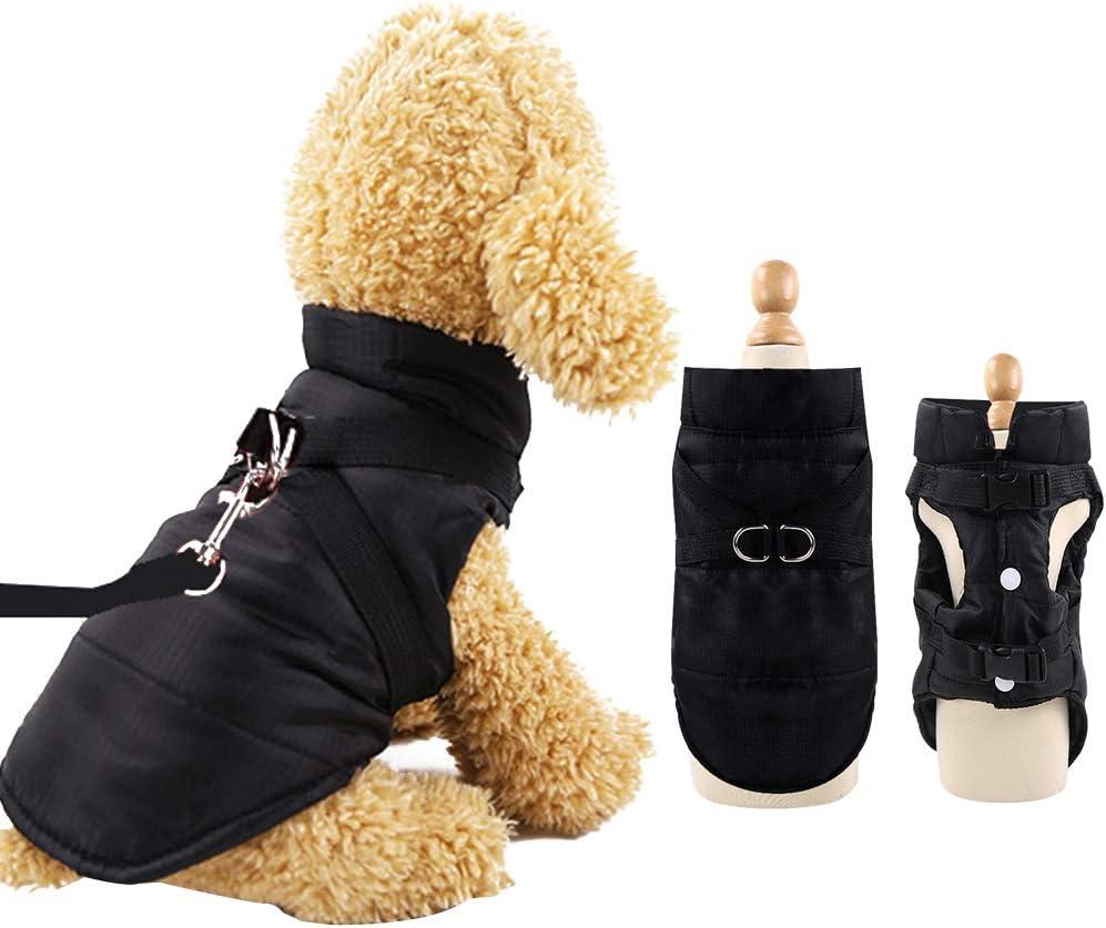 Eastlion Abrigo Perro Pequeño para Invierno,Impermeable Chaleco Prueba de Viento con Orificio para arnés,Cálido Chaqueta Ropa para Mascotas Cachorro,Negro,L