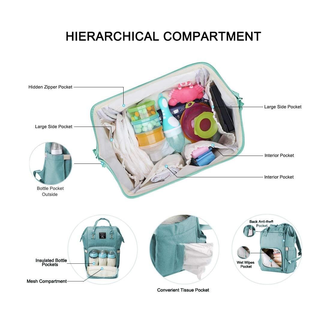 Pink Diaper bag backpack Nanrui industrial multi-functional baby backpack diaper bag