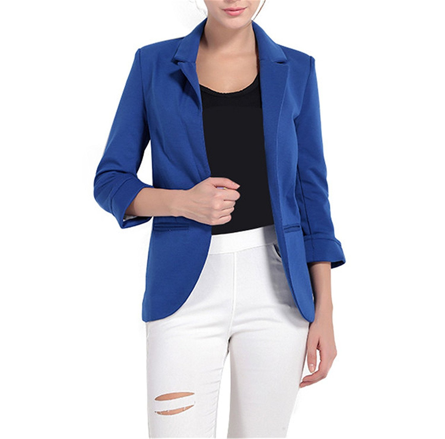 Toping Fine Blazer 3/4 Sleeve Workwear White Blazer Jackets Casual Blue Notched Blazer Outwear Overcoat BlackXX-Large by Toping Fine wool-outerwear-coats (Image #2)