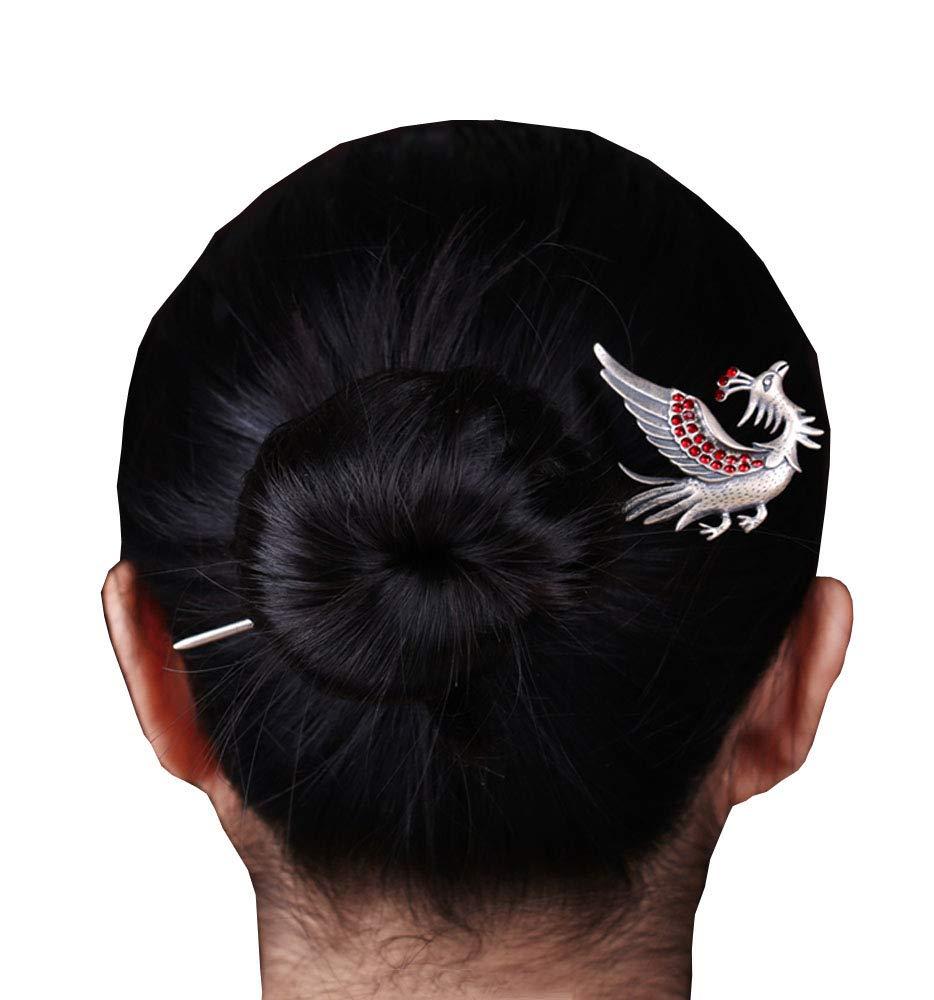 HangErFeng Hair Stick 925 Silver Hairpin Chinese Element Phoenix Bird Hairpin, Gift Packaging (Silver)