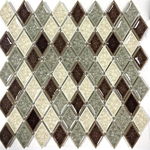Diamond Crackled Finish Glass Multi Color Mosaic Tile Backsplash Wall (Multicolor Mosaic Tile)