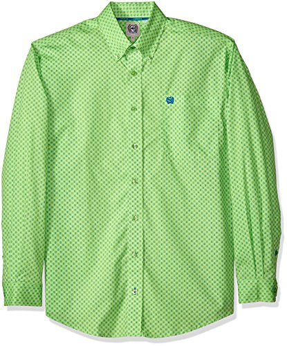 (Cinch Men's Classic Fit Long Sleeve Button One Open Pocket Print Shirt, Lime, L)