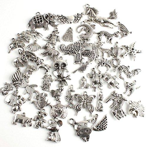 LQZ(TM) 50Pcs Assorted Tibetan Silver Animal Charms Pendants Jewelry Findings