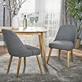Trimay Mid Century Charcoal Fabric Dining Chair (Set of 2) For Sale