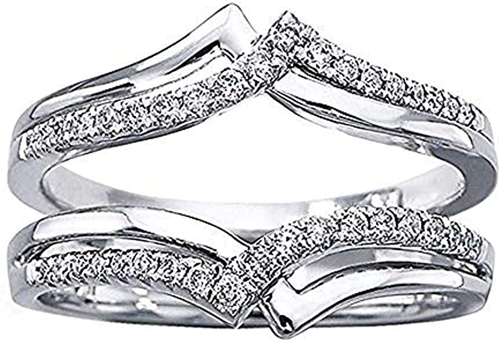 RUDRAFASHION 14k White Gold Plated 1//4ct Round Lab Created Diamond Ring Double-Row Enhancer Wedding Ring Wrap Guard