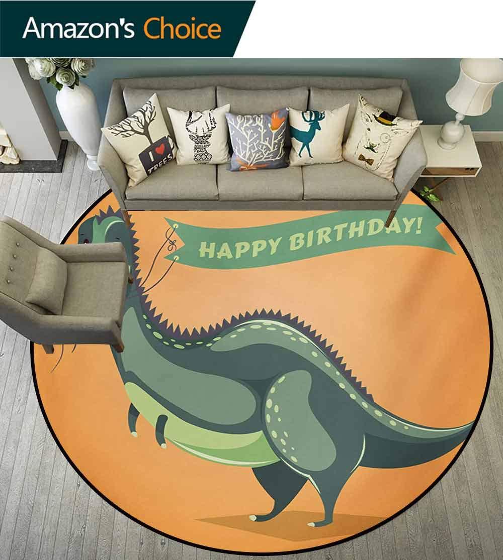RUGSMAT Birthday Round Rug,Funny Cartoon Style Dinosaur Holding Ribbon Birthday Greetings Theme Carpet Door Pad for Bedroom/Living Room/Balcony/Kitchen Mat,Diameter-51 Inch Green Pale Green Orange