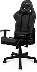 DXRacer P Series Gaming Chair, Premium PVC Leather Racing Style Office Computer Seat Recliner with Ergonomic Headrest and Lumbar Support, Black