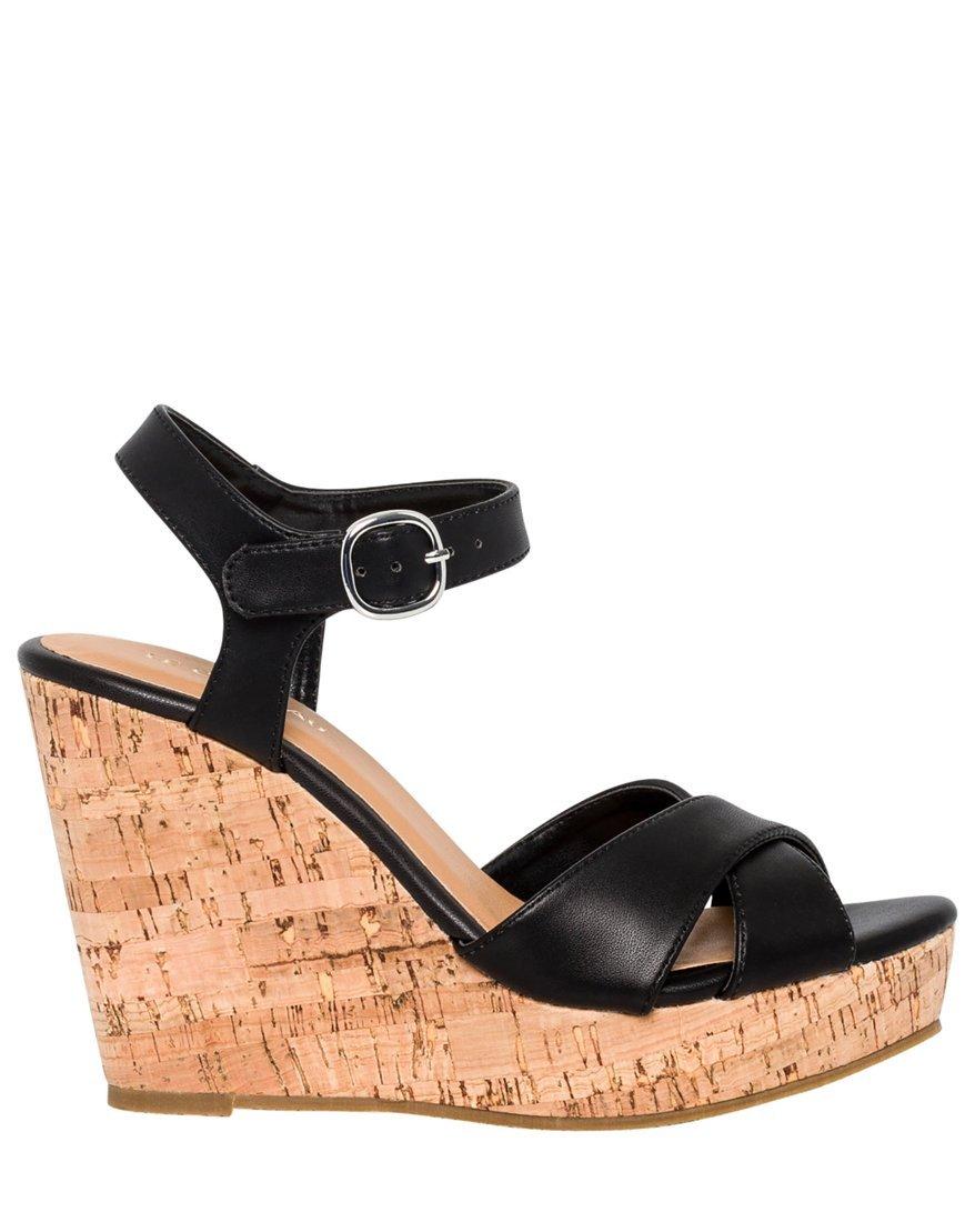 LE CHÂTEAU Women's Leather-Like Open Toe Wedge Sandal,9,Black by LE CHÂTEAU (Image #1)