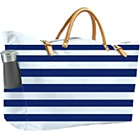 KEHO Fashion Beach Bag (Cute Travel Tote), Large and Roomy, Waterproof Lining, Multiple Pockets For Storage (Blue/White…