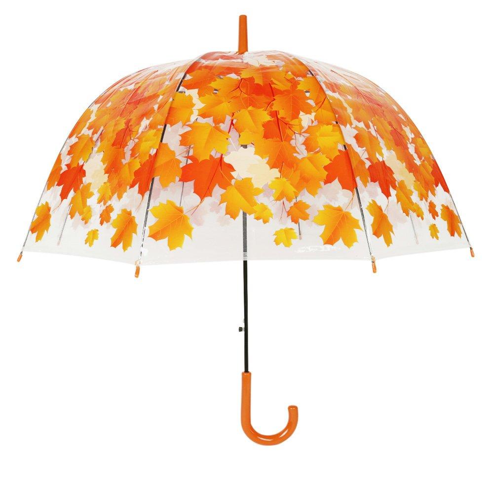jkjcn transparente creativo seta paraguas hojas arco automático mango largo paraguas.: Amazon.es: Jardín