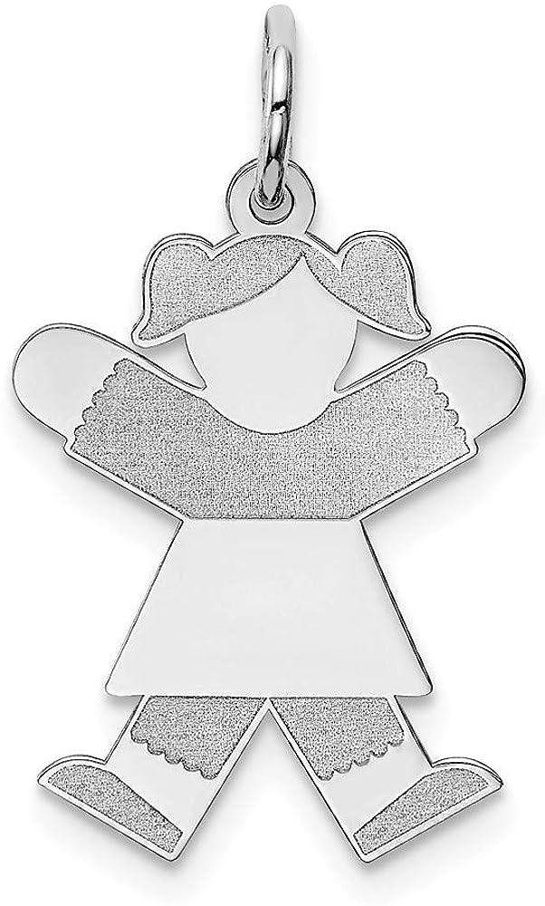 Sterling Silver Solid Polished Laser-cut Engravable Kid Charm