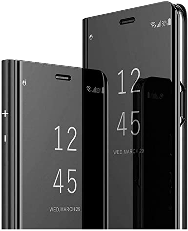 Amazon Com Designed For Xiaomi Redmi Note 8 Case Luxury Electroplate Mirror View Flip Pu Leather Cover Black Clothing