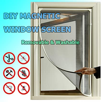 Adjustable Diy Magnetic Window Screen Fit Windows Up To 48x40 Inch Removable Washable