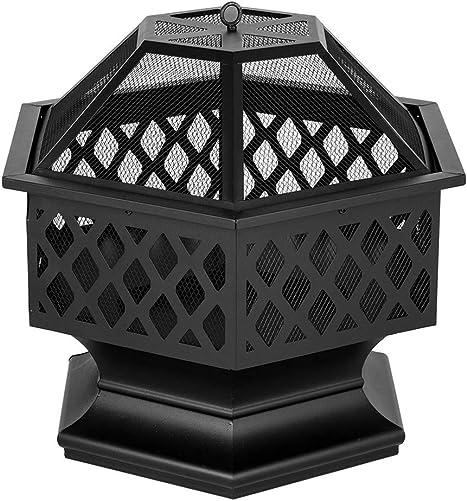 Takefuns 24″ Hexagonal Shaped Iron Brazier Wood Burning Fire Pit Decoration