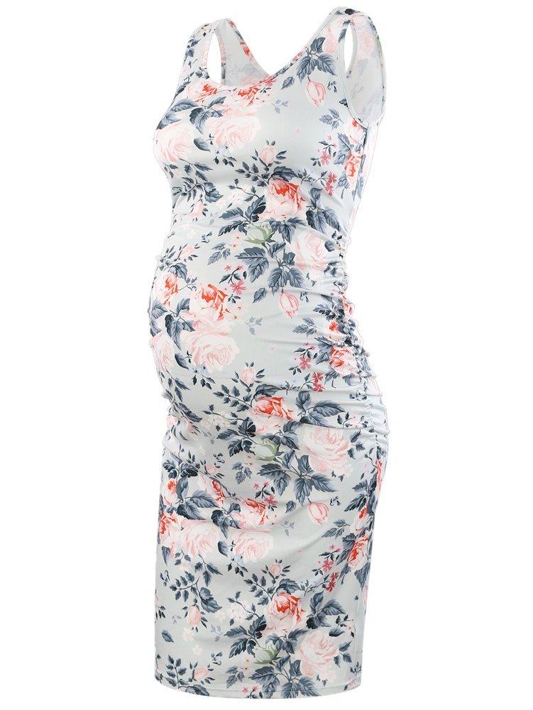Pinkydot Women's Maternity Sleeveless Dresses Maternity Tank Dress Mama Scoop Neck Baby Shower Pregnancy Dress