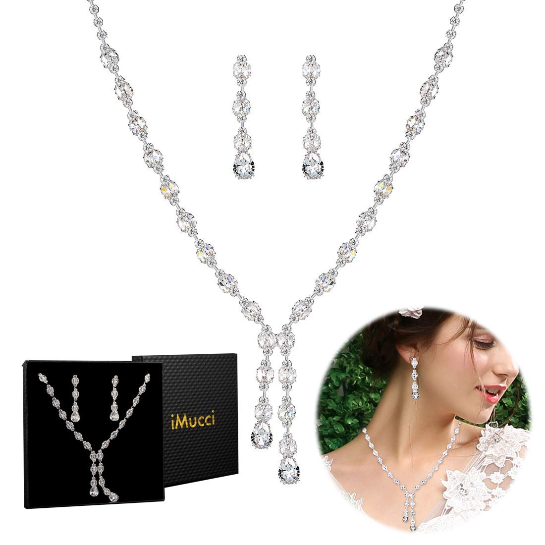 iMucci Zircon Crystal Wedding Jewelry Set - Necklace and Silver Needle Earrings for Party Prom Bridal Bridesmaid with Black Gift Box WS0517