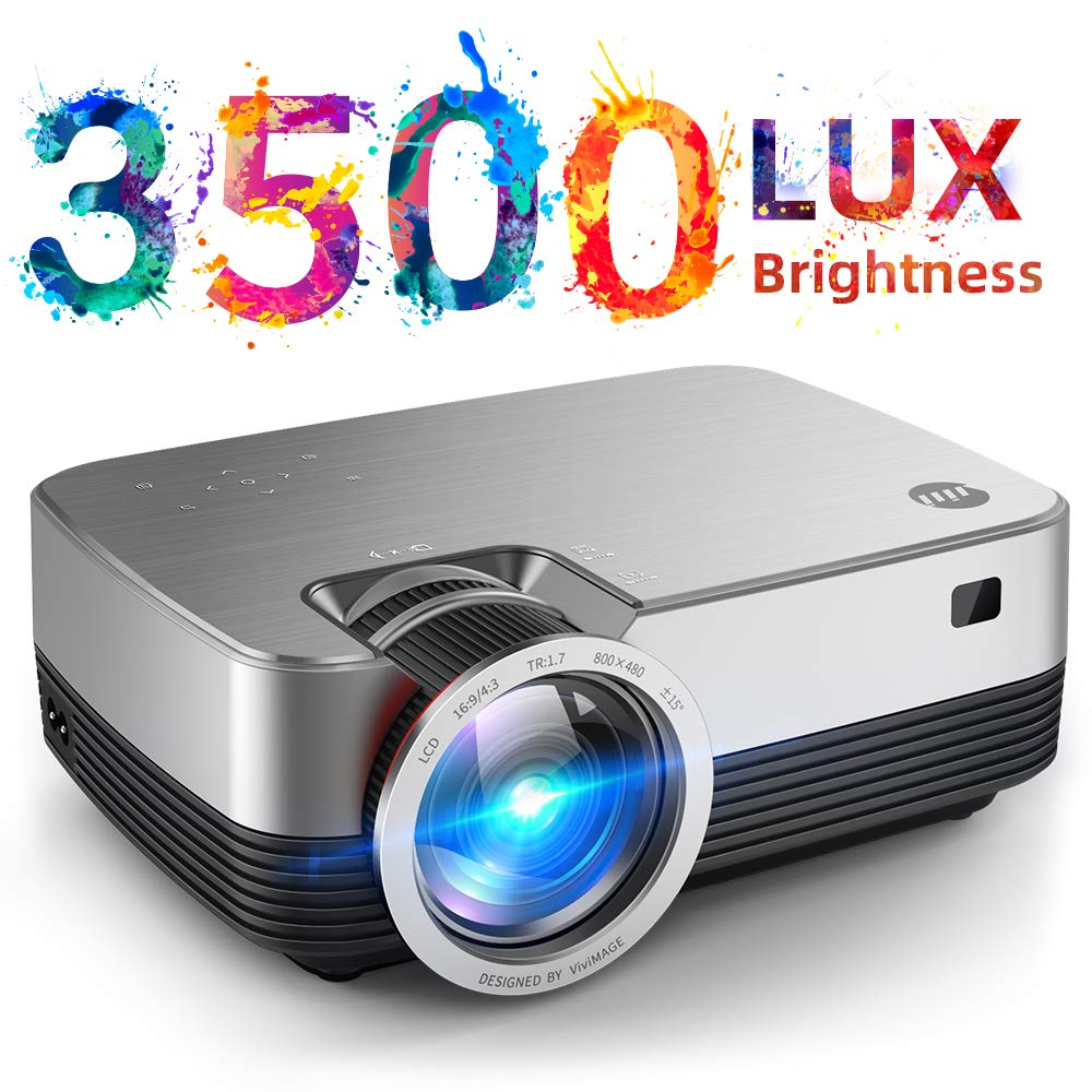 VIVIMAGE C480 Mini Projector, 3500 Lux 1080P Supported and 170'' Display Portable Video Projector with 40,000 Hrs LED Lamp Life, Compatible with TV Stick, PS4, HDMI, VGA, TF, AV and USB by VIVIMAGE