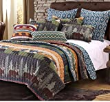 5 Piece Bear Lodge Motif Quilt Set King Size, Featuring Reversible Rustic Animal Print Zigzag Design Comfortable Bedding, Contemporary Cabin Inspired Bedroom Decoration, Black, Green, Multicolor