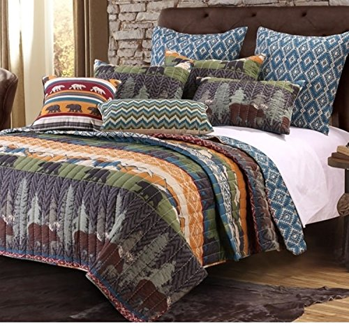 5 Piece Bear Lodge Motif Quilt Set King Size, Featuring Reversible Rustic Animal Print Zigzag Design Comfortable Bedding, Contemporary Cabin Inspired Bedroom Decoration, Black, Green, Multicolor by SE