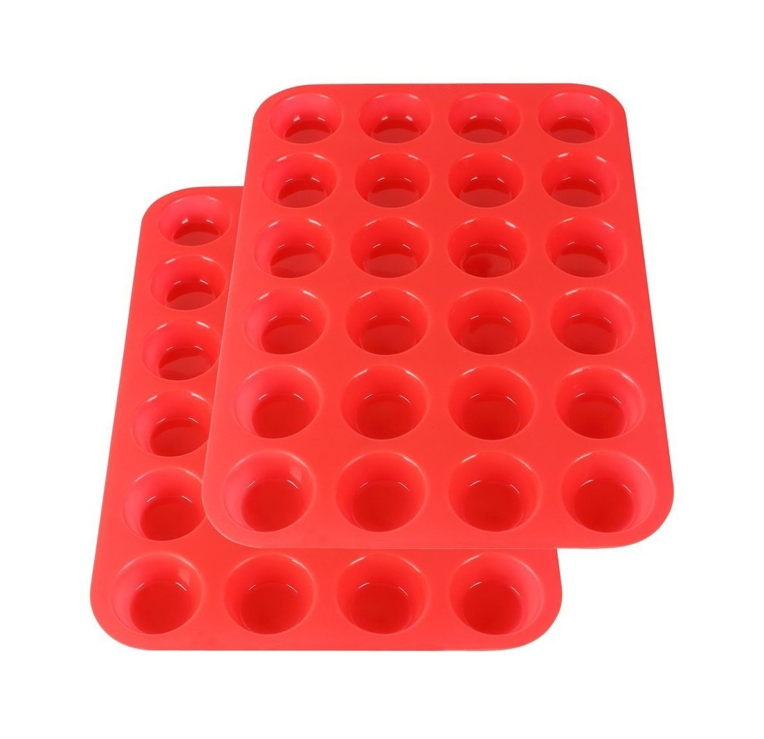 2Packs Silicone Mini Muffin Pan Silicone Cupcake Baking Cups, 24 Non Stick Silicone Molds for Muffin Tins(Red)