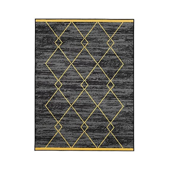 """Ottomanson Studio Collection Diamond Trellis Design Area Rug, 5'0"""" X 6'0"""", Gray & Yellow - Functional features such as stain-resistance, non-slip rubber back, non-shedding and fade resistant low profile surface pile are brilliantly combined with chic fashionable or traditional designs and elegant colors 