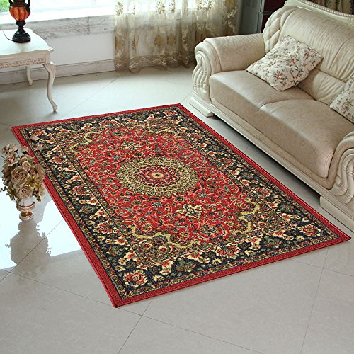 Adgo Collection Persian Heriz Oriental Traditional Design Rubber-Backed Non-Slip Non-Skid Area Rugs, Red , 3'3
