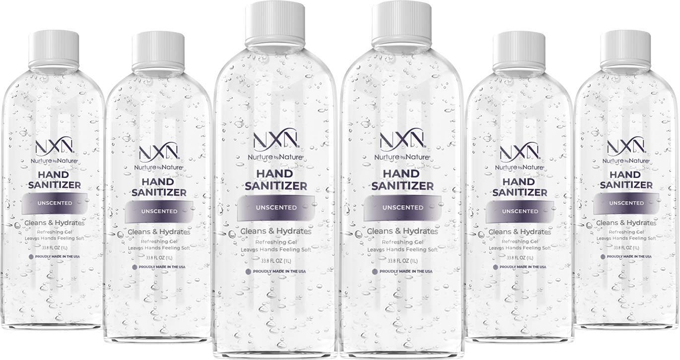 NxN Advanced Hand Sanitizer Refill Pack, Unscented, With 70% Alcohol, 202.8 Total Fl Oz - Pack of 6 (33.8 Oz Each)