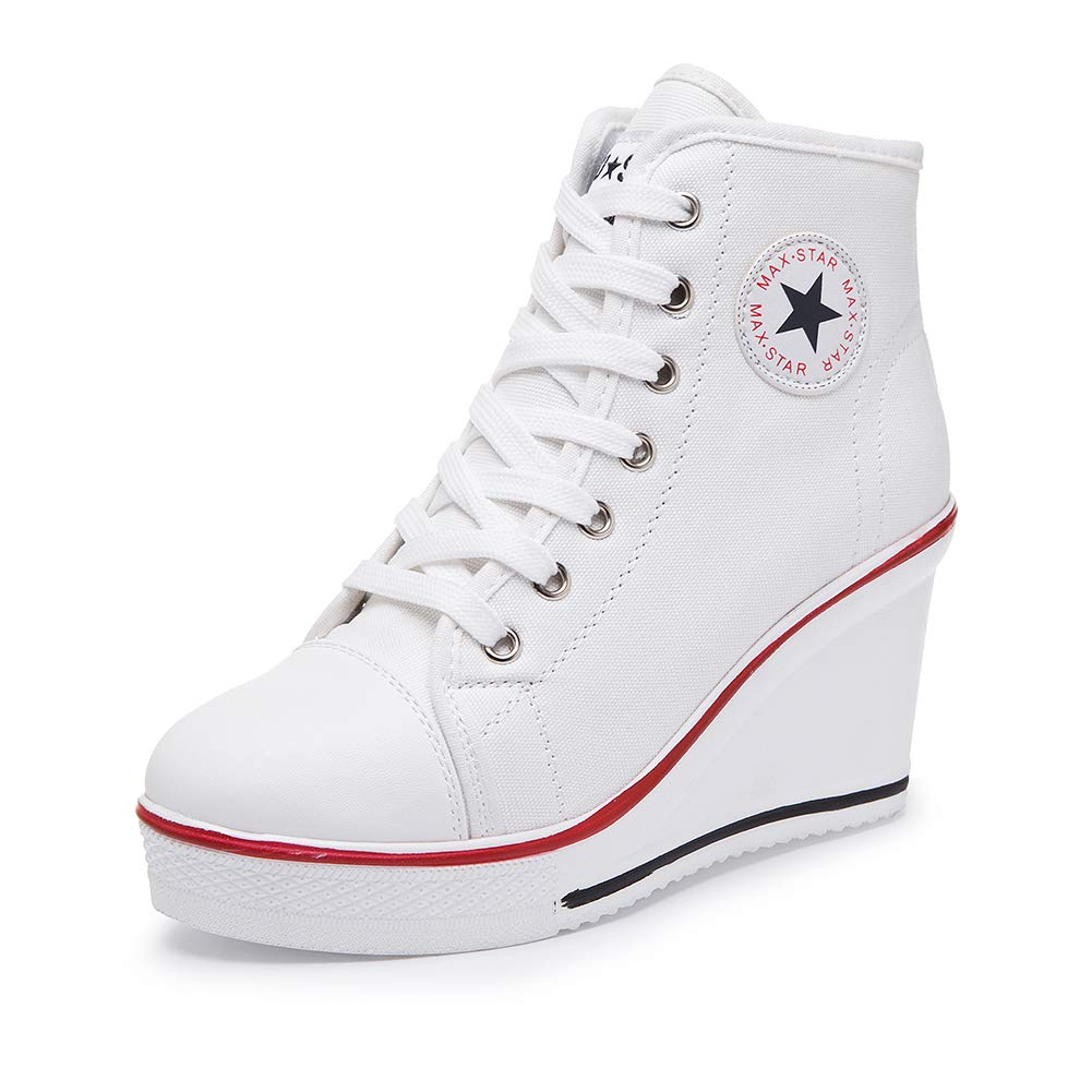 White Sokaly Women's Sneaker High-Heeled Canvas shoes High-Top Wedge Sneakers Platform Lace up Side Zipper Pump Fashion Sneakers