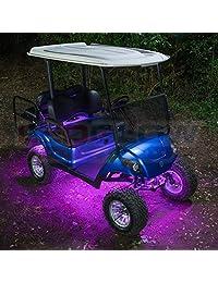 LEDGlow   Kit de iluminación LED SMD para carrito de golf, 12 unidades, con luces de interior y ruedas, tubos resistentes al agua, incluye 2 mandos a distancia inalámbricos y caja de control
