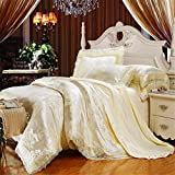 Lotus Karen Luxury Satin Cotton 40s Jacquard Embroidery Lace Ruffle Bedding Sets 4pc Duvet Cover Bedsheet Pillowcase (King, 6Beige) Reviews