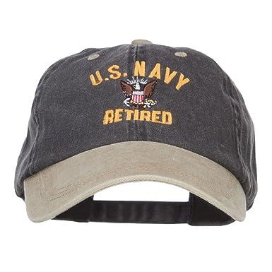d1429bb3715 E4hats US Navy Retired Military Embroidered Two Tone Cap - Black Khaki OSFM