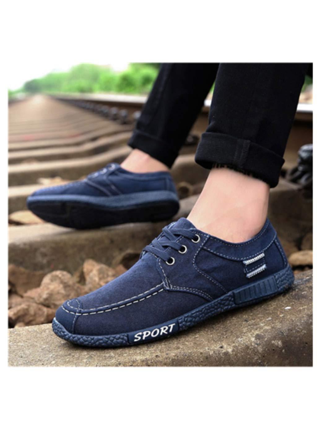 Hemlock Men Work Shoes School Sport Shoes Denim Canvas Lace Up Running Shoes Businessman Shoes