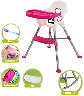 Qujifangedcy Children Dining Chair, 5in1 Kid Eat High Chairs Rocking Stool Multi Sit Highchair with Plate Safety Belt, Blue/Pink/Green, for Home, for 0-3 Years Old Children (Color : Blue)