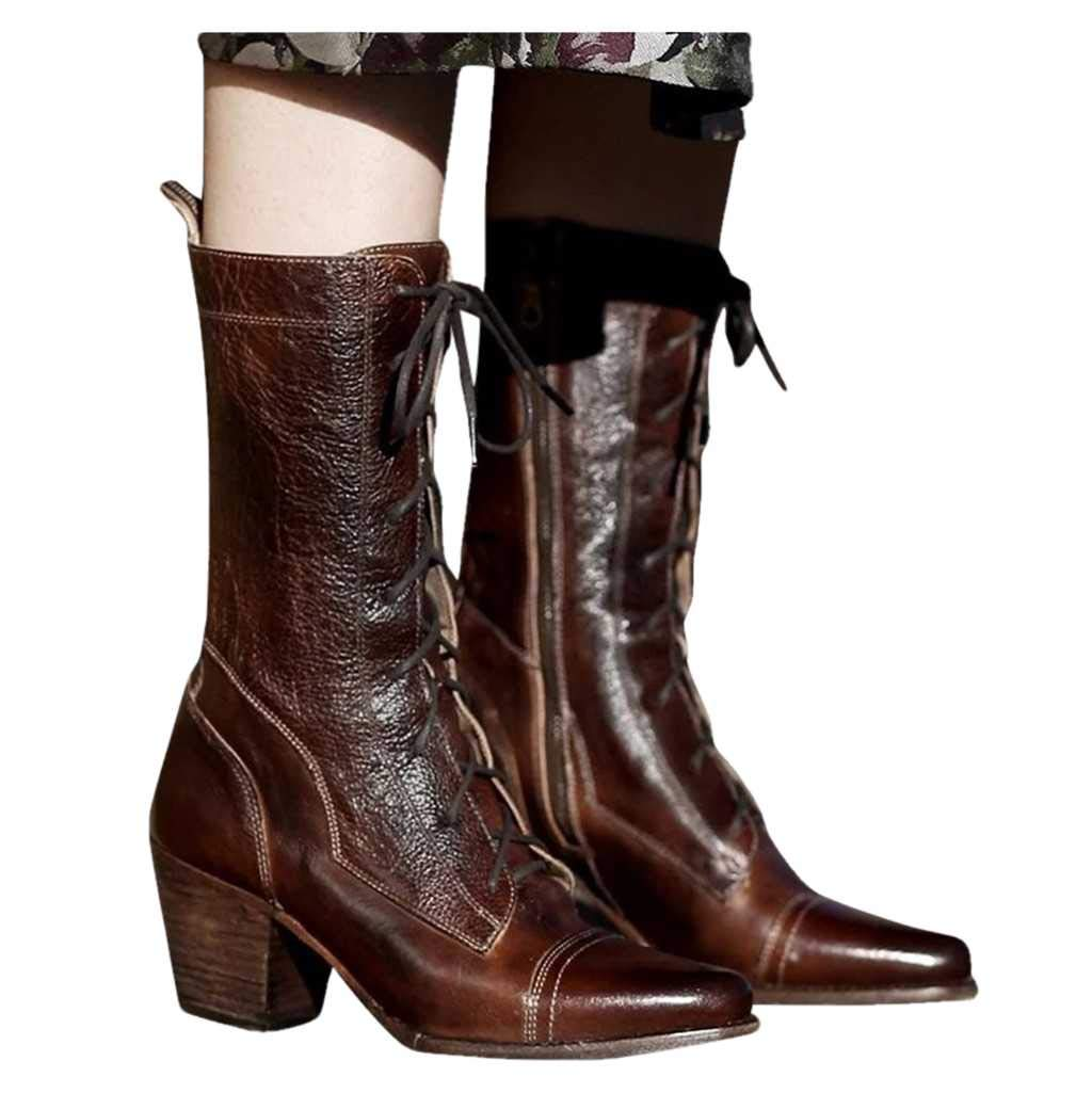 Dasuy Women's Retro Short Boots Leather Lace up Western Cowboy Boot Pointed Toe Stacked Heel Zipper Combat Boots (US:9, Brown) by Dasuy