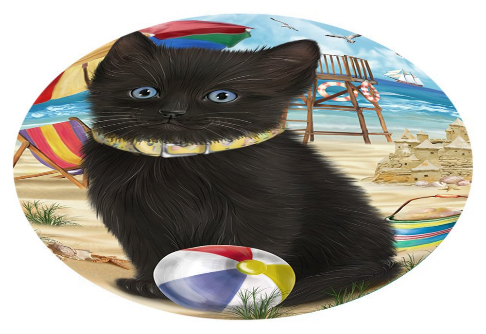 Doggie of the Day Pet Friendly Beach Black Cat Oval Envelope Seals OVE62212 (20)