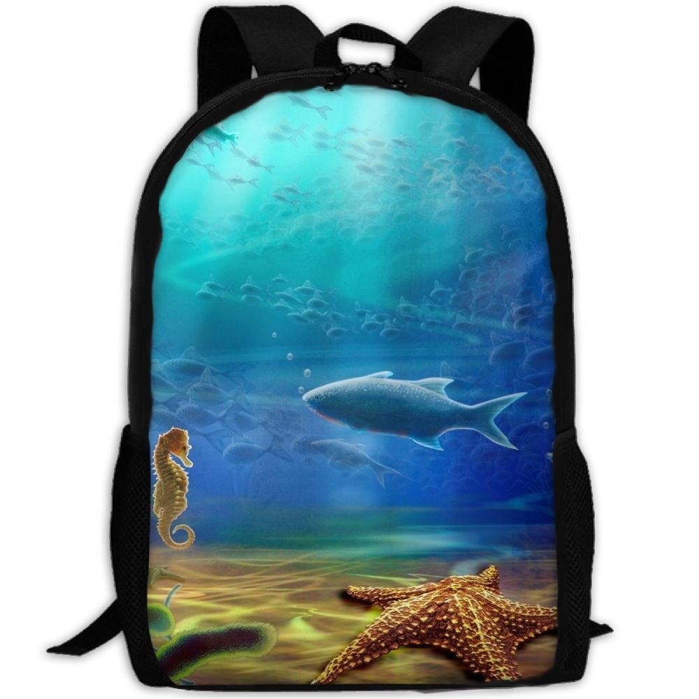 OIlXKV Fish Starfish Sea Horse Print Custom Casual School Bag Backpack Multipurpose Travel Daypack For Adult