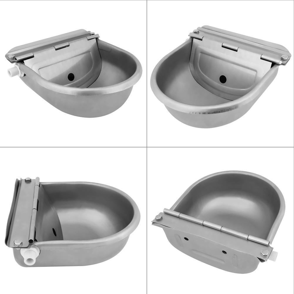 GOTOTOP Water Trough 4L Stainless Steel Automatic Float Valve Agricultural Drinker