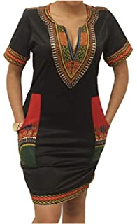 660bd850d21 SUKIYAKI Women s Bohemian Dashiki African Vintage Print Club Midi Bodycon  V-Neck Dress