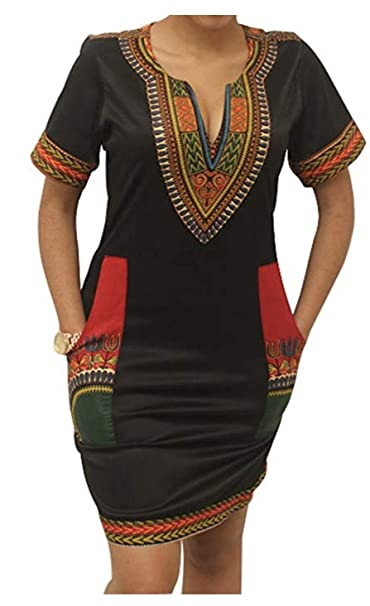 SUKIYAKI Womens Bohemian Dashiki African Vintage Print Club Midi Bodycon V-Neck Dress (S