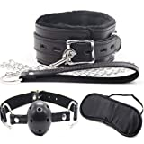Yeoubi Soft Leather Choker Collar Fur Line Necklace and Leash and Open Breathable Leather Paly Ball with Blindfold