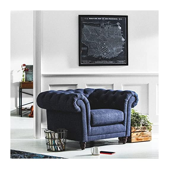 """Stone & Beam Bradbury Chesterfield Oversized Tufted Accent Arm Chair, 50""""W, Navy - An updated twist on the classic Chesterfield design, this handsome tufted arm chair is as comfortable as it is eye-catching. Its sturdy design and high performance upholstery will hold up to your busy family. 50""""W x 39""""D  x 30.3""""H Solid and engineered hardwoods; polyester/nylon fabric - living-room-furniture, living-room, accent-chairs - 61Vu0Uh rYL. SS570  -"""