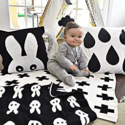 Hacookies,Black and White Swiss Cross Pattern Personalized Cashmere Fleece Toddlers Crib Bedding Swaddle Blankets Wrap Trow for Newborn Gifts