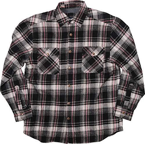 Woodland Supply Co. Men's Fleece Lined Cotton Flannel Plaid Check Long Sleeve Button Down Shirt (Medium, ()