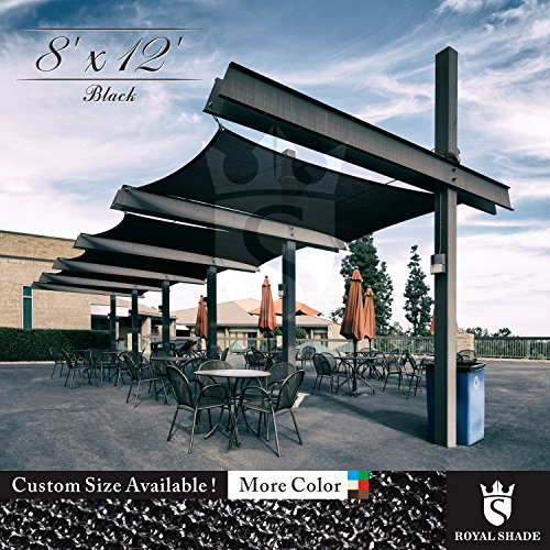 Royal Shade 8′ x 12′ Black Rectangle Sun Shade Sail Canopy Outdoor Patio Fabric Shel ...