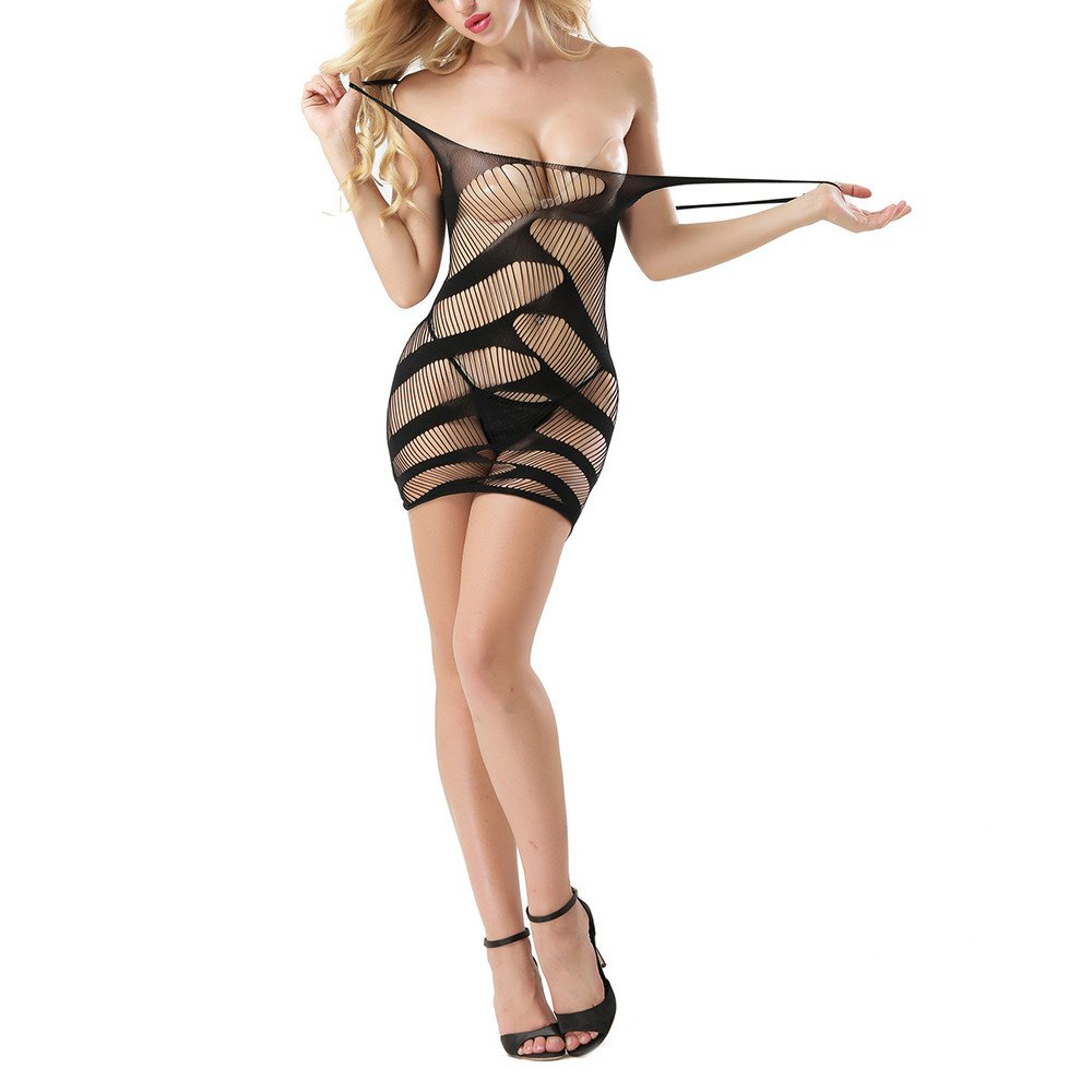 YOMXL Temptation Women's Teddy Dress Forky Nightwear Mesh Lingerie Fishnet Hollow Babydoll Chemises Mini Dress Bodysuit