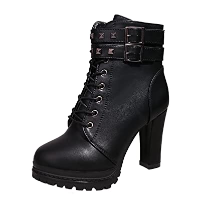 3da8c3476acc Inornever Women Fall Ankle Boots Military Buckle Chunky High Heel Platform  Leather Martin Boots Black 6