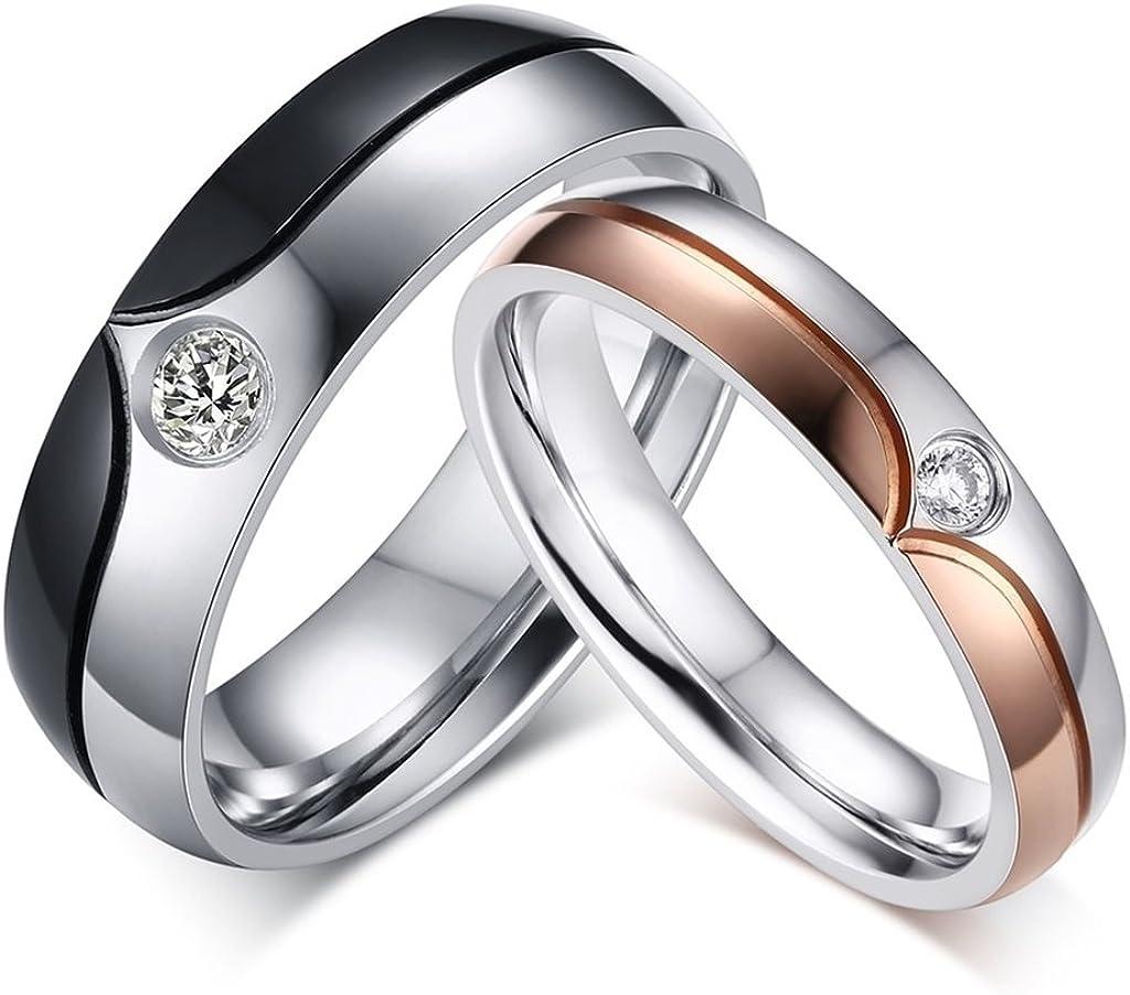AnazoZ 2Pcs Couple Bagues Rose Or/&Noir Acier Inoxydable Incrust/é CZ Oxyde De Zirconium Bague Cristal pour Homme /& Femme Bague Mariage Anneau Alliance Classique Taille Optionnelle 49-66.5