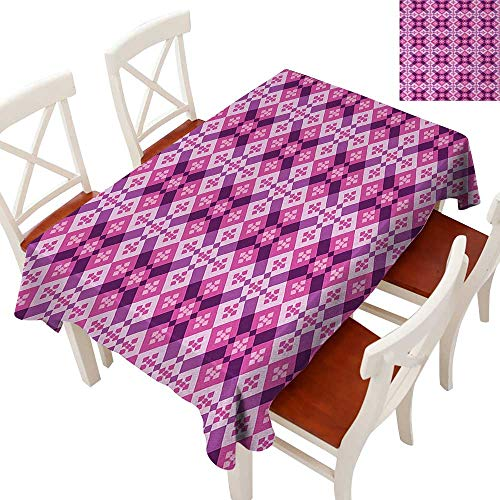 Vintage Floorboards - Decorative Textured Fabric Tablecloth Runners, Gatsby Wedding, Glam Wedding Decor, Vintage Weddings Geometric Tiles Square and Rectangles Floorboard Style Modern Art Fuchsia Hot Pink Pale Mauve 60