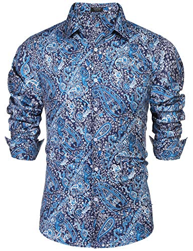 COOFANDY Men's Floral Dress Shirt Slim Fit Casual Paisley Printed Shirt Long Sleeve Button Down Shirts Ocean Blue